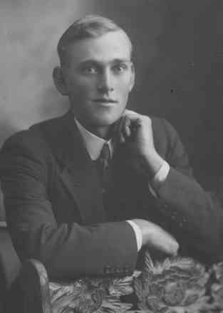 Portrait, James Browne in civilian clothes leaning on carved wooden chair back - No known copyright restrictions