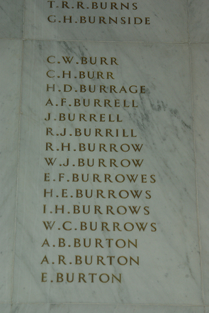 Auckland War Memorial Museum, World War 1 Hall of Memories Panel Burns, T.R. - Burton, E. (photo J Halpin 2010) - No known copyright restrictions