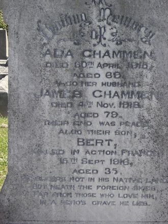 Family grave memorial, Sydenham Cemetery, Christchurch commemorating 23/1011 Albert Chammen (Photo by Sarndra Lees) - Image has All Rights Reserved.