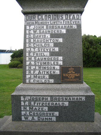 Detail, Pleasant Point War Memorial, South Canterbury (Photo Brian Davison, 2009) - No known copyright restrictions