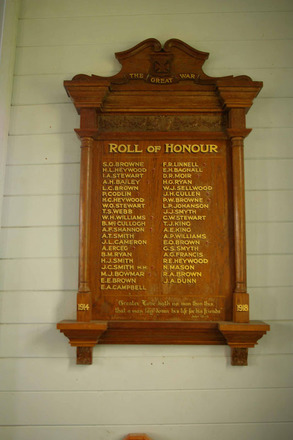 Roll of Honour, WW1, St Michael's and All Angel's Church (photo J. Halpin April 2011) - No known copyright restrictions