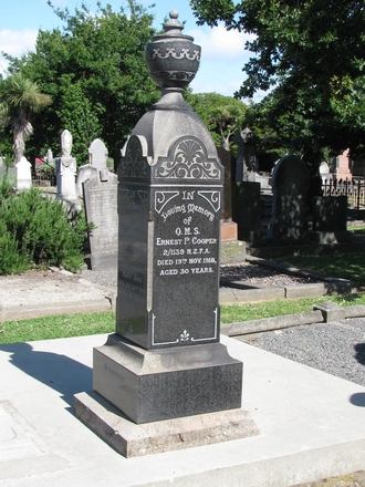 Gravestone at Addington Cemetery of 2/1139 Ernest Cooper (image provided by Sarndra Lees, December 2009) - Image has All Rights Reserved.