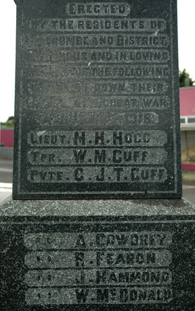 Halcombe War Memorial, detail (photo Tammy Hart 2011) - No known copyright restrictions