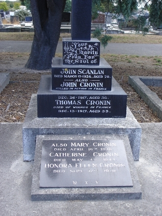 Family memorial at Bromley Cemetery, Christchurch, 55436 John Cronin and 27229 Thomas Cronin (Photo by Sarndra Lees, 2009) - Image has All Rights Reserved.