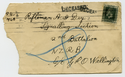 Returned envelope, addressed to Rifleman A.A. Dey, Signalling Section (front) - No known copyright restrictions