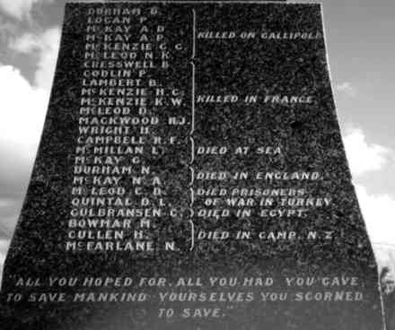 Names, WW1, Waipu War Memorial (photo G.A. Fortune, 1999) - Image has All Rights Reserved