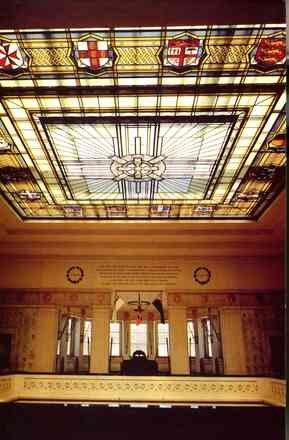 Stained glass ceiling of the entrance foyer, Auckland War Memorial Museum . The window includes the crests of Great Britain and its Dominions and Colonies involved in the First World War. (photo Brian Brake). - No known copyright restrictions