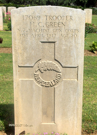 Headstone, Deir el Belah War Cemetery (Photo Alan and Hazel Kerr, 2007) - No known copyright restrictions
