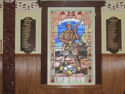 Memorial panels and stained glass window at Tamatea, Otakou Marae, Otago Peninsula, New Zealand. Roll of Honour includes those who died and those who served in the South African War, World War 1 and World War 11. Photo November 2013 by H. Petrie. - No known copyright restrictions - No known copyright restrictions