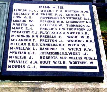 Name panels , 1914-1918, (1 panel Libeau - Worthing) Cambridge War Memorial, New Zealand. (Photo G.A. Fortune 1999) - Image has All Rights Reserved