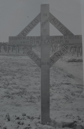 WW1 shared grave, wooden cross : John Charles Alexander Chaplin (49692); James Herbert Luke (65628) and Donald Ross (26182), New Zealand Rifle Brigade, 2nd Battalion, 3rd, killed in action, 26 May 1918 buried at Euston Road Cemetery, Colincamps, Somme, France - No known copyright restrictions