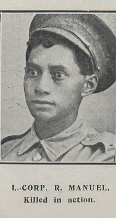 Lance-Corporal R. Manuel, killed in action. Taken from the supplement to the Auckland Weekly News 30 September 1915 p045. No known Copyright.