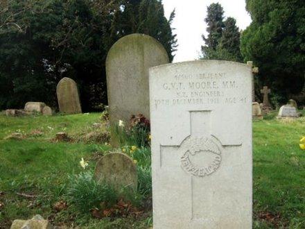 Headstone, Stevenage (St Nicholas) Churchyard, close up (photo the Vicar, 2009) - No known copyright restrictions