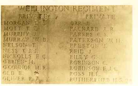 Messines Ridge (New Zealand) Memorial, the Wellington Regiment panel, 22 names. Photograph was originally sent to the family of Hugh Leslie Ross by the Minister of Internal Affairs following the war (Ross, Hugh Leslie. Letter, 1917. Auckland War Memorial Museum Library. MS 98/106.) - No known copyright restrictions