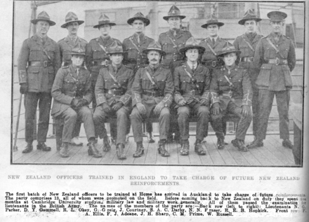 Group photograph, New Zealand officers trained in Cambridge University, England returning to train reinforcements. The Auckland Weekly News, 19 July 1917, page 38 - No known copyright restrictions