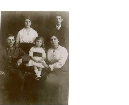 Family group, Aunt Fanny and son George Petty,; daughter Isabelle and granddaughter Lois Guiney and son Horace John Petty date c 1917-1918 - No known copyright restrictions