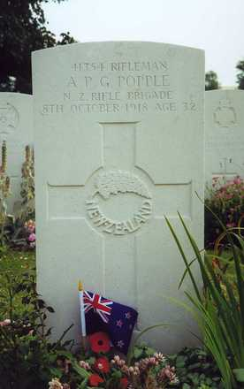 Headstone, Marcoing British Cemetery - No known copyright restrictions