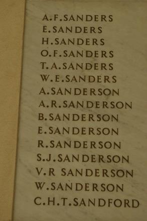 Auckland War Memorial Museum, World War 1 Hall of Memories Panel Sanders, A.F. - Sandford, C.H.T. (CC BY John Halpin 2010)