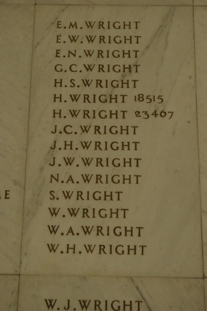 Auckland War Memorial Museum, World War 1 Hall of Memories Panel Wright E.M. to Wright W.H. (photo J Halpin 2010) - No known copyright restrictions