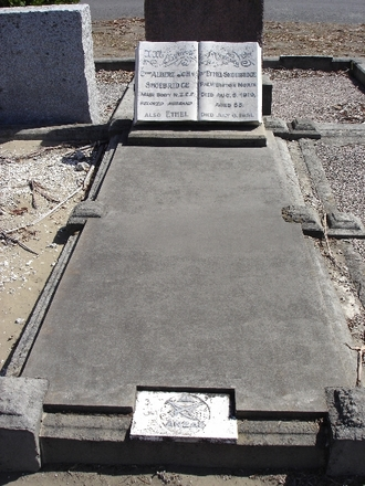 Gravestone at Bromley Cemetery, with that of his wife Ethel. - No known copyright restrictions