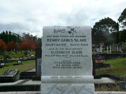 Family headstone for Henry James, Elizabeth, and George Alfred Slade 3/3018 [Dargaville] - No known copyright restrictions