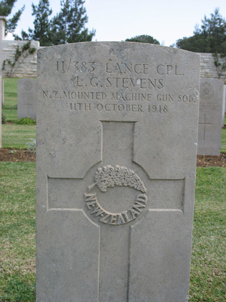 Headstone, Jerusalem War Cemetery (Photo Alan and Hazel Kerr, 2007) - No known copyright restrictions