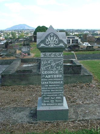 Headstone of George Arthur Teasdale 62489 at Te Awamutu Cemetery, Te Awamutu, New Zealand - No known copyright restrictions