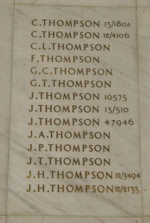 Auckland War Memorial Museum, World War 1 Hall of Memories. Names panel: Thompson C. - Thompson J.H. - No known copyright restrictions