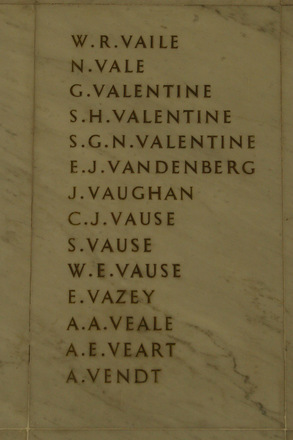 Auckland War Memorial Museum, World War 1 Hall of Memories Panel Vaile - Vendt (photo J Halpin 2010) - No known copyright restrictions
