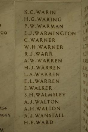 Auckland War Memorial Museum, World War 1 Hall of Memories Panel Warin, K.C. - Ward, H.E. (photo J Halpin 2010) - No known copyright restrictions