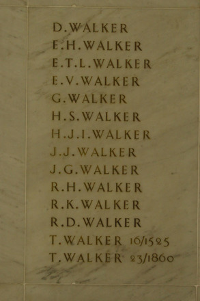 Auckland War Memorial Museum, World War 1 Hall of Memories Panel Walker, D. - Walker, T. (photo J Halpin 2010) - No known copyright restrictions