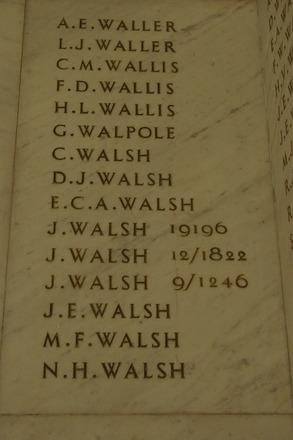 Auckland War Memorial Museum, World War 1 Hall of Memories Panel Waller, A.E. - Walsh, N.H. (photo J Halpin 2010) - No known copyright restrictions