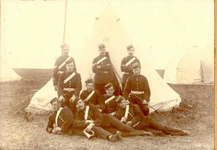 Group photo, 10 men, Volunteer Militia, Boer War Era, men in front of tent. Andrew Watson middle front row - No known copyright restrictions