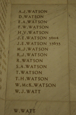 Auckland War Memorial Museum, World War 1 Hall of Memories Panel Watson, A.J. - Watt, W.J. (photo J Halpin 2010) - No known copyright restrictions