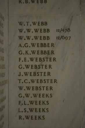 Auckland War Memorial Museum, World War 1 Hall of Memories Panel Webb, W.T. - Weeks, R. (photo J Halpin 2010) - No known copyright restrictions