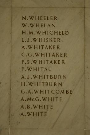 Auckland War Memorial Museum, World War 1 Hall of Memories Panel Wheeler, N. - White, A. (photo J Halpin 2010) - No known copyright restrictions