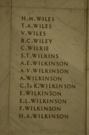 Auckland War Memorial Museum, World War 1 Hall of Memories Panel Wiles, H.M. - Wilkinson, H.A. (photo J Halpin 2010) - No known copyright restrictions