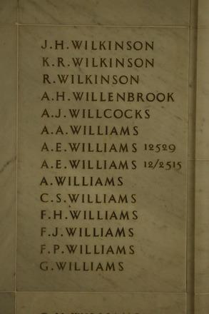 Auckland War Memorial Museum, World War 1 Hall of Memories Panel Wilkinson, J.H. - Williams, G. (photo J Halpin 2010) - No known copyright restrictions