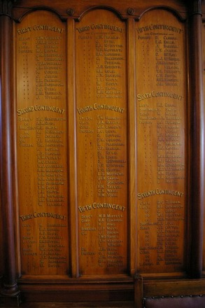 Roll of Honour, Ranfurly Veterans' Home, detail, 1st - 7th Contingents, (photo J. Halpin September 2011) - No known copyright restrictions