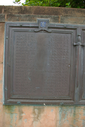 Auckland Grammar School War Memorial, WW2, Panel names Adams, D.A. - Carr, W.L. (digital photo John Halpin, 2011) - CC BY John Halpin.