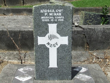 Image of Gravestone at Purewa Cemetery provided by Paul Baker December 2013 - No known copyright restrictions