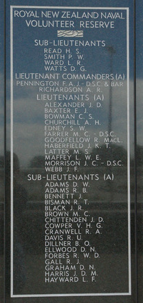 New Zealand Naval Memorial, Devonport, Panel 8: Royal New Zealand Naval Volunteer Reserve - Sub-Lieutenants Read - Watts, Lieutenant Commanders (A), Lieutenants (A), Sub - Lieutenants (A) - Adams - Hayward (digital photo John Halpin 2011) - CC BY John Halpin