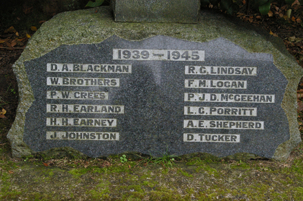 Names 1939 - 1945, Memorial Cross, St Judes (Anglican) Church, St Jude Street, Avondale, Auckland (photo J. Halpin 2013) - This image may be subject to copyright