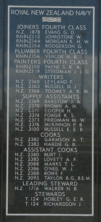 New Zealand Naval Memorial, Devonport, Panel 6: Royal New Zealand Navy - Joiners Fourth Class, Plumber Fourth Class, Painters Fourth Class, Writers, Supply Assistants, Cooks, Assistant Cooks, Leading Steward, Stewards (digital photo John Halpin 2011) - CC BY John Halpin