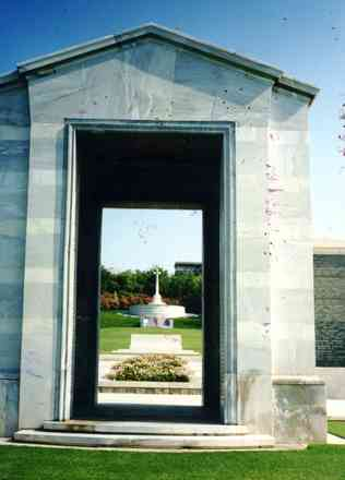 Athens Memorial, Phaleron War Cemetery, entrance (photo Tanya Ottaway 1987) - This image may be subject to copyright