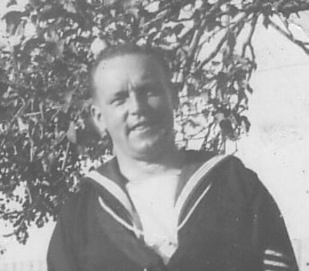 Portrait, detail from the photograph AB Seaman Jim Birss and his wife Grace (kindly provided by family) - This image may be subject to copyright