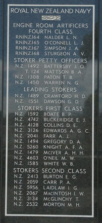 Panel 4: Royal New Zealand Navy - Engine Room Artificers Fourth Class Nalder - Sturgeon, Stoker Petty Officers, Leading Stokers, Stokers First Class, Stokers Second Class Burton - Morton (digital photo John Halpin 2011) - CC BY John Halpin