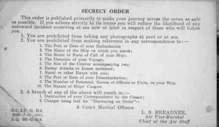 Secrecy orders issued by the RCAF to aircrews trained in Canada. - This image may be subject to copyright