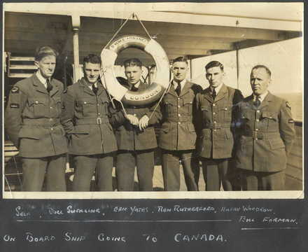 Group of 6 Royal New Zealand Airforce trainees photograph taken on board the ship RMS Aorangi, going to Canada in 1941. From left to right: R. Moore, Bill Suckling, Eric Yates, Ren Rutherford, Harry Woodrow and Bill Forman. (kindly supplied by Mr R. Moore) - This image may be subject to copyright