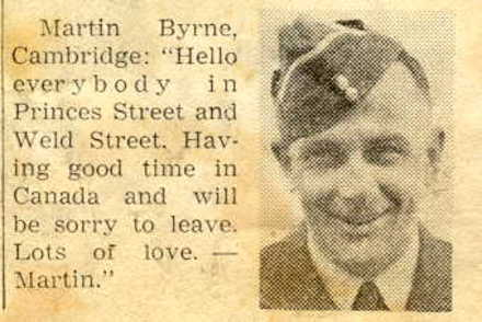 """Newspaper cutting with portrait, M Byrne """"hello everybody"""" - This image may be subject to copyright"""